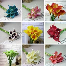 Wholesale 10 color high end simulation feel pu mini calla lily artificial flowers Home Decoration wedding flower decoration