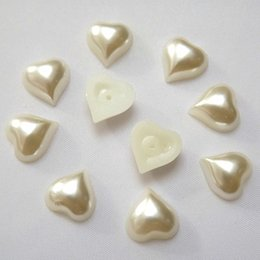 200pcs 8mm 10mm  12mm Heart Shape Flat Back Ivory Color Loose Pearl Beads ZZ210