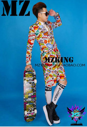 Male singer clubs in Europe and the runway looks elastic light silk satin light grey color graffiti suit costumes. S - 6 xl
