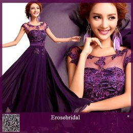 Cheap! Purple Sleeveless Floor-Length Applique Lace Long Chiffon Evening Dress 2014 New Formal Evening Gown Bridesmaid Dress Party Prom Gown