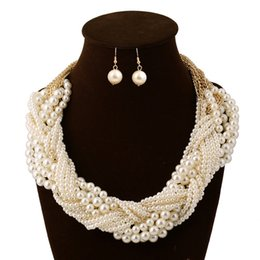 Wholesale Hot Sale African Bridal Wedding Prom Party Pearls Jewelry Set Necklace Earring Jewelry Set for Women