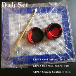 Wholesale Silicone Wax Kit Set with cm cm square sheets pads mats ml silicon container long gold dabber tool for dry herb jars dab
