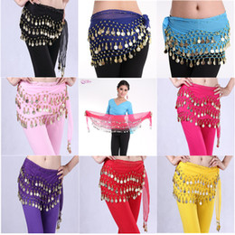 Women 3 Rows Belly Dance Belt Bellydance Hip Scarf Wrap Belly Dancing Belt Chain with 128 Gold Coins Adult