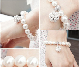 Wholesale Only Korean Wedding Bracelet Bridal Party Jewelry Faux Pearl Rhinetone Free Size Prom Evening Party Bracelet Bridal Accessories