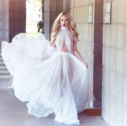 Hot Sexy White High Neck Prom Dresses 2019 A Line Ruffles Long Chiffon Michael Costello Celebrity Evening Dress Formal Gowns