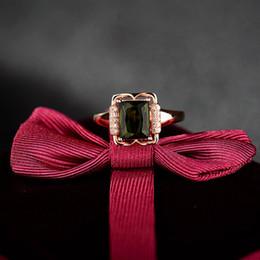 Bague en or tourmaline verte en Ligne-Nouveau gros-Design Emerald Cut 6x8mm Vert Tourmaline diamant Dans Solid 18 KT Rose d'or sur mesure Bagues de fiançailles 45TOU-SR00348