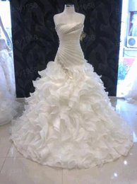 Wholesale Best Selling A Line Wedding Dresses Strapless Lace up Ruffled Skirt Organza Sweep Train Beaded Bridal Gowns Cathedral Wedding Gowns