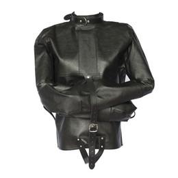 w1023 Sexy Women men PU Leather Coupless jacket Up Bondage Straitjacket Costume Harness