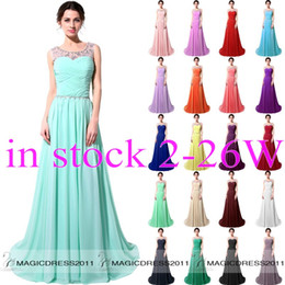 Wholesale IN STOCK Long Pink Blue White Crystal Prom Party Dresses with Lace up Back A Line Crew Beaded Black Red Mint Formal Gown Dresses Cheap