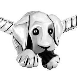 Alloy Material With Rhodium Silver Color Plating Puppy Dog Bead Black Enamel Charm Fit Pandora Bracelet