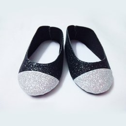 Wholesale factory price Environmental protection quot INCH DOLL SHOES for AMERICAN GIRL Silver black ballet shoe DA46