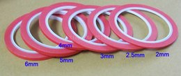 Wholesale-6 Rolls Lot Red Masking Tape Crepe Paper Tape For Manicures Width 2mm,2.5mm,3mm,4mm,5mm,6mm MT031