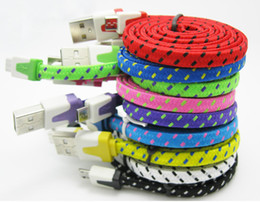 Noodle Flat Braided micro usb cable Dual Color 1M 2M 3M V8 micro usb cables Data Charging Adapter for Samsung Galaxy S4 100pc
