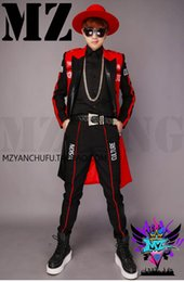 A male singer fashionable nightclub runway looks red and black letters double-breasted long suit costumes. S - 6 xl