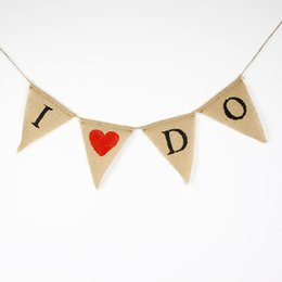 Burlap Wedding Banners- I DO -Wedding Photo Prop Bunting -Personality Wedding Sign - Vintage Fabric Garland