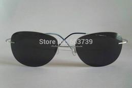 Wholesale New Arrival Super light Flexible Beta Pure Titanium Rimless Sunglasses Eyeglasses Eyewear Unisex Gray Polarized