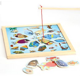 Wholesale Safe Wooden plywood puzzle magnetic toys Puzzle Double Pole Magnetic Fun Fishing Toys Fishing Game Environmental Protection