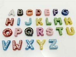 Wholesale 52PCS Lot 8MM Full Rhinestones Colorized Slide Letters A-Z Alphabet DIY Slide Charms Fit 8MM Wristbands Bracelets Belts SL10