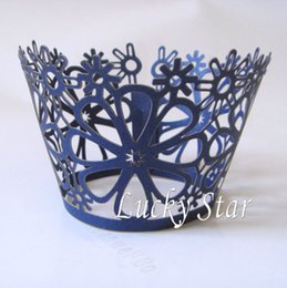 Free shipping 120pcs Navy Blue Flower Laser cut Lace paper Cup Cake Wrapper Cupcake Wrapper FOR Wedding christmas Party
