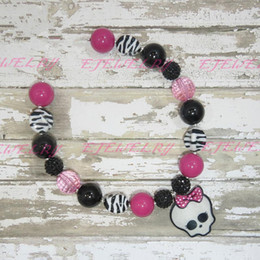 Bubblegum Beaded Necklace Little Girl Bubblegum Chunky Necklace Halloween Monster High Tickle Me Pink Couture CB179