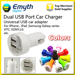 Wholesale For Iphone Charger Mini Micro Dual USB Car Charger Adapter Flash Pacifier Nipple Dual USB Port For iPhone S6 note4 Ipad Samsung HTC