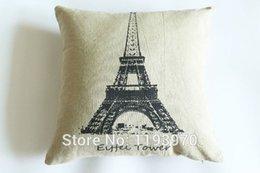 Wholesale Antique Antique Paris La Tour Eiffel Linen and cotton Pillow Case Covers bolster Case