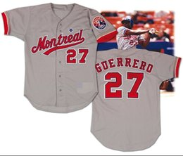 Wholesale 27 Montreal Expos Vladimir Guerrero Cooerstown sewn Cool Base baseball Jerseys support mixed order Basketball football hockey