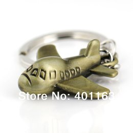 Wholesale 10PCS Plane Keychain Bronze Color Aircraft Air Craft Airliner Transportation Mode Accessories Key Chain Ring Keyfob Keyring