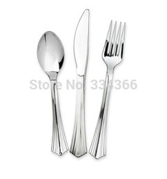 Wholesale Disposable Plastic Party Cutlery Set Knives Forks Spoons Flatware Sets Tableware As Real Silver