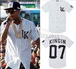 Wholesale 07 Last Kings baseball t shirt tyga jerseys black white unsex men women hip hop style tees tops rap rock t shirts new