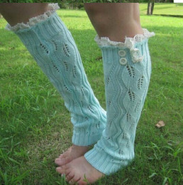 2015 Button leg warmers Knit Lace shark tank Legwarmers Boot Cuffs lace trim gaiters Boot Socks Crochet 7 colors #3719