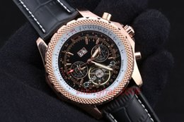 Luxury Watch Men's watch Black dial Automatic Rose gold case Leather Belt Watch Free Shipping