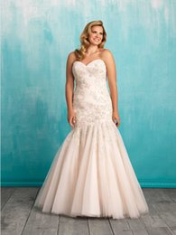 Wholesale Custom Made A line Delicate Swarovski beadwork plus size to this strapless tulle gown Style W372 lace Wedding Dresses