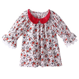 Pettigirl Hot Selling Girls Summer T-shirt With Half-Sleeve Stylish Lace Patchwork Baby Top Retail Child Red Collar Clothing GT81027-5L