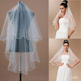 Wholesale 2015 The Best Selling Bridal Tulle White and Ivory Without Comb Wedding Veils Ribbon Edge one Layer Cheap Bridal Veil