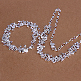 High grade 925 sterling silver Light Grape bracelet necklace jewelry set DFMSS153 brand new Factory direct 925 silver necklace bracelet