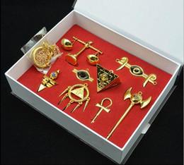 2017 pendentifs en argent Rare collection Yu-Gi-Oh Millénium Items Puzzle Alliage collier pendentif porte-clés Set 8pc Set en boîte d'or argent 500SET HHA338 pendentifs en argent à vendre