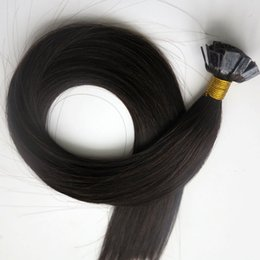 Pre bonded hair Flat tip human hair extensions 50g 50Strands 18 20 22 24inch #1B Off Black Brazilian Indian hair products