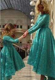 2016 Lace Hi-Lo Long Sleeves Mother and Daughter Dress Cheap Flower Girls' Dresses Hunter Green Jewel Neck Zipper Back Kids Pageant Gowns
