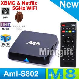 Wholesale M8N M8 Smart Android Kitkat Amlogic S802 Chip Quad Core Google Live TV Channels Internet IPTV Digital Stream TV BOX Full HD XXX Movies