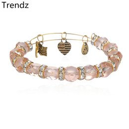 Wholesale Alex Ani Antique Gold and Silver Expandable Steel Wire Bangles Handmade DIY Pink Chamilia Bead Crystal Charms Bracelets