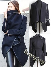 European Elegant Women Zippered Long Sleeve Panelled Leather Poncho Cape Wool Coat Plus Size Military Trench Overcoat