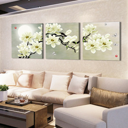 Wholesale 3 Piece Hot Sell Modern Wall Painting Home Decorative Art Picture Paint on Canvas Prints Pure white flowers with bright moon