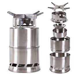 Wholesale Lightweight Portable Stainless Steel Wood Stove Solidified Alcohol Stove Outdoor Camping Cooking Picnic BBQ Y0416