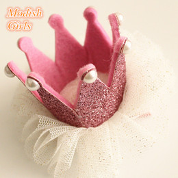 Top Quality Baby Girls Crown Felt Barrettes Tiara Side Hair Clip Princess Crown with Glitter Tulle Gold Silver Pretty Crown Hair Clip