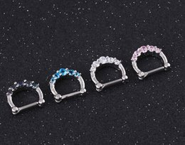 Wholesale 10PC ER51014 free ship anti allergy steel lip nose ring nipple ring ear stud curve women cz stone D shaped pierced eyebrow jewelry