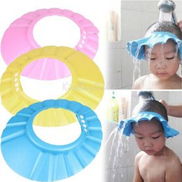 Wholesale Adjustable mm Thick Soft EVA Baby Shower Cap Toddler Bathroom Shampoo Hat Wash Hair Eyes Ears Shield Protect