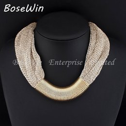 Hot Sale Design Fashion Women Charm Choker Necklace Gold plated Twisted Singapore Chain Statement Necklaces Wholesale gift 2015 N2604