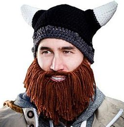 Wholesale Cool Men Women children Beanie Skull Caps Bearded Knitted Hats Vikings Horn crochet Hat Warmer Ski Bike Hat photography COS PROPS gift
