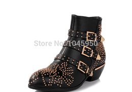 Wholesale-2015 Winter Boots Women Punk Studded Boots Shoes Vintage Black Red Ladies Short Buckle Boots Low Heels Booties For Women